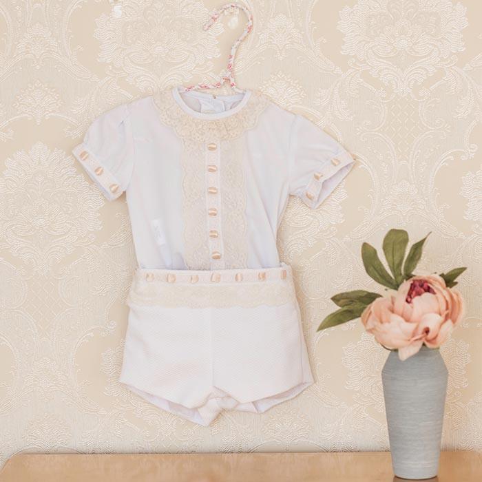 5f1de2dc99b Conjunto 2 piezas pantalón y camisa bebé niño blanco para eventos y  ceremonias dolce petit