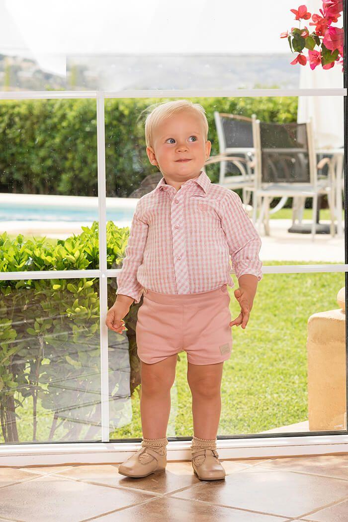 19f1b84f1 Conjunto 2 piezas bebé niño camisa manga larga y pantalón corto ...