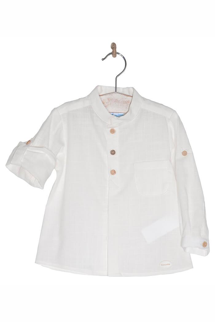 9591b37c9 Camisa blanca bebé niño lino colección cocote
