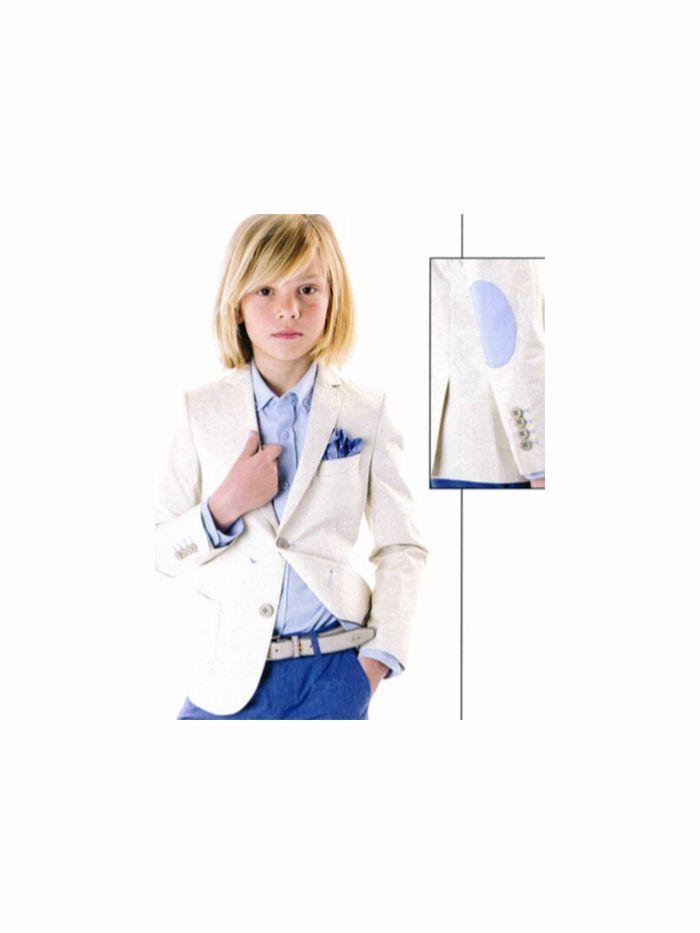78be60a37 Americana beige con coderas azul celeste colección Spagnolo 2019 ...