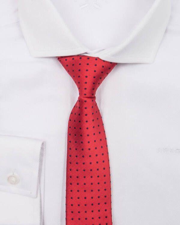 corbata roja con topitos
